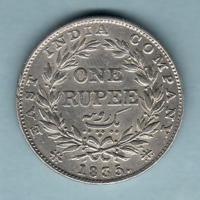 India. 1835 William 1111 - One Rupee.. Without initials.. Part Lustre.  gVF/aEF