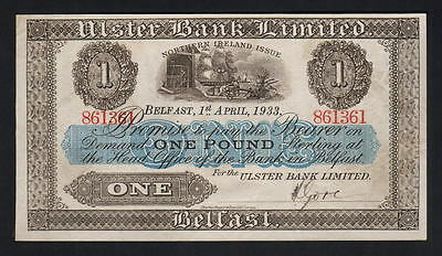 NORTHERN IRELAND  P-306. Ulster Bank.. 1933 1 Pound.. EF