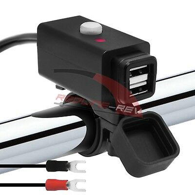 Waterproof Motorcycle Handlebar Mount 12V Dual USB Charger Cable Adapter ATV UTV