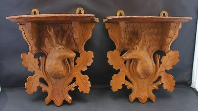 Pair of Black Forest Carved Stag's Head Wall Brackets, Late C19th/Early C20th
