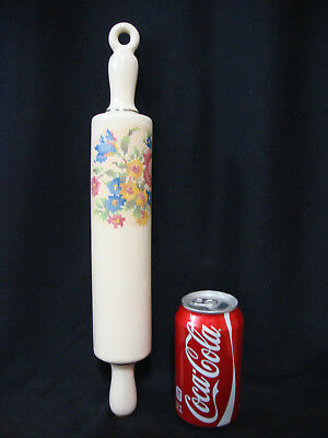 Vintage Harker Pottery Ceramic Rolling Pin W/ Cork - Petit Point Pattern