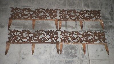 "Antique Cast Iron Garden Edge Border Fence Floral 4 Pieces Each 26"" Long"
