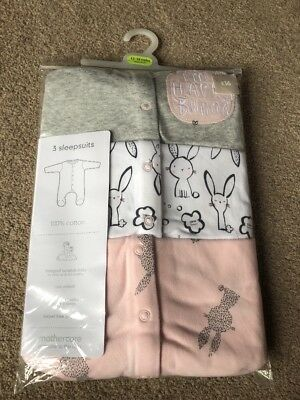 Mothercare Bunny Sleepsuits Baby Girl 3 Pack 12-18 Months