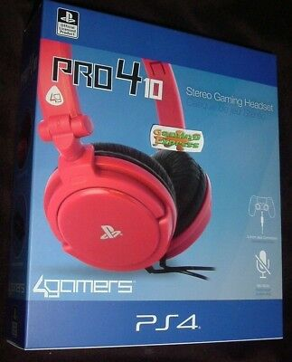 Official Red Stereo Chat GAMING Headset Playstation 4 PS4 Vita Pro4 10 NEW