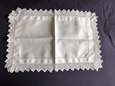 Edwardian Vintage White Irish Linen Butlers Tray Cloth Hand Crocheted Edging no6