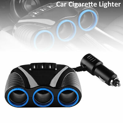 12V 3Way Multi Car Cigarette Lighter Splitter 3 USB Charger Power Adaptor Socket