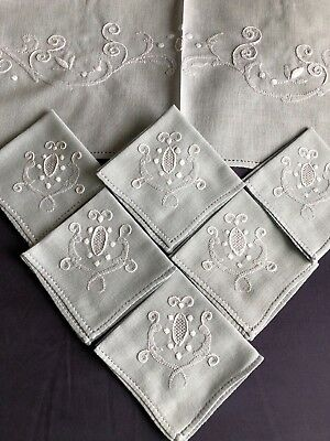 Vintage Grey Cotton Madeira Style Shadow Work Embroidered Tablecloth & 6 Napkins