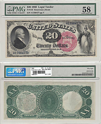 1880 $20 Legal Tender Note F-135 PMG Choice About Uncirculated-58