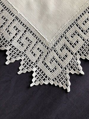 Lovely Edwardian Vintage White Cotton Butlers Tray Cloth Hand Crocheted Edging