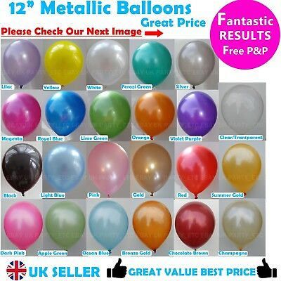 """12"""" METALLIC LATEX High Quality Pearlised BALLOONS Party Birthday Decorations"""