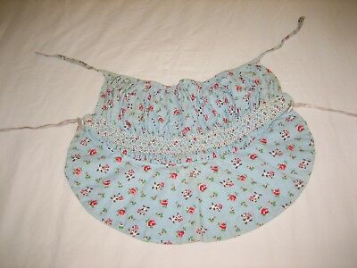 Vintage 1950s Baby Bonnet - Panda Bears and Roses on Blue - Cotton