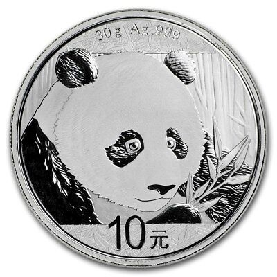 Chinese Mint China ¥ 10 Yuan Panda 2018 30 g gram .999 Silver Coin (about 1 oz )
