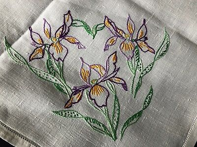Pretty Vintage Floral Hand Embroidered Large Square White Irish Linen Tablecloth