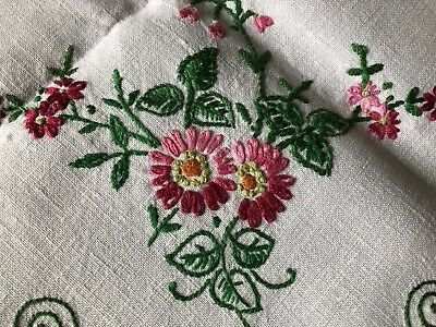 Pretty Vintage Floral Hand Embroidered Large Square Cream Irish Linen Tablecloth