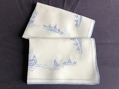 Lovely Vintage Linen Madeira Style Work Embroidered Pair Tray / Trolley Cloths