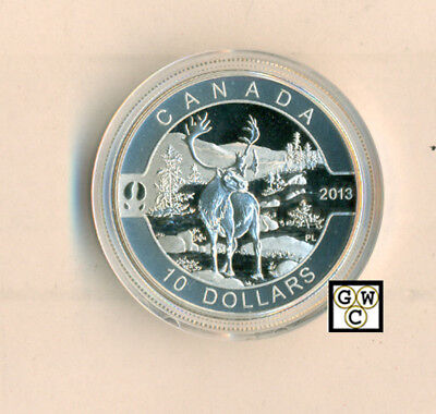 2013 'Caribou - O Canada' Proof $10 Silver Coin .9999 Fine (NT) (13125) (OOAK)