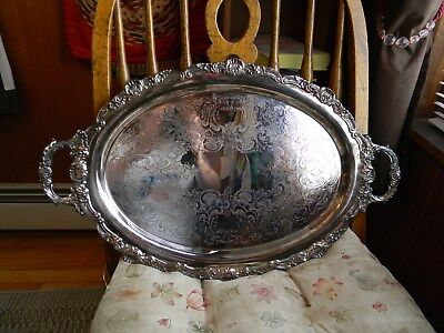 Vintage Towle Silver Plate Large Ornate Handled Footed Tray 430100