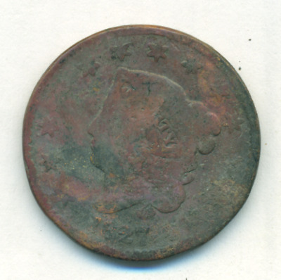 1827 Large Cent Greatly Rotated Reverse - Counter Stamped