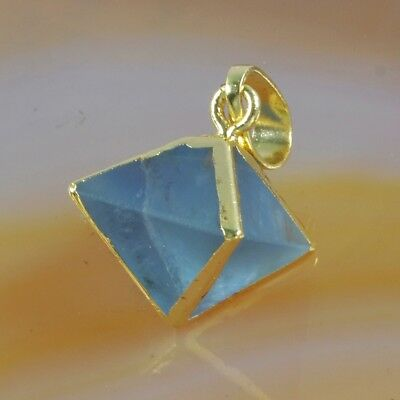 Octahedron Pyramid Point Multi-Color Fluorite Pendant Bead Gold Plated T059579
