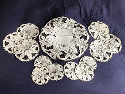 Lovely Set 13 Vintage Hand Embroidered Madeira Work Linen Luncheon / Table Mats
