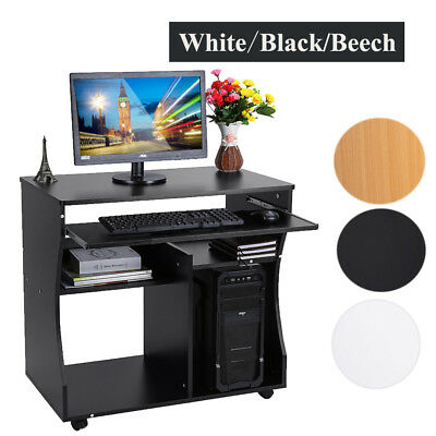 Computer Desk Wood Small Office Table Workstation with Storage Shelves Furniture