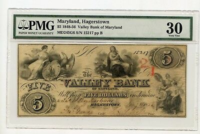 1848-56 $5 Valley Bank of Maryland MD245G6 SN:15217 pp B (VF3) PMG