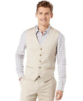 $89 Perry Ellis Big Tall Tan Linen Vest (Summer suit, destination wedding)