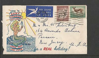 South Africa 1961 Come To East London Real Holiday Illustrated Airmail Cover