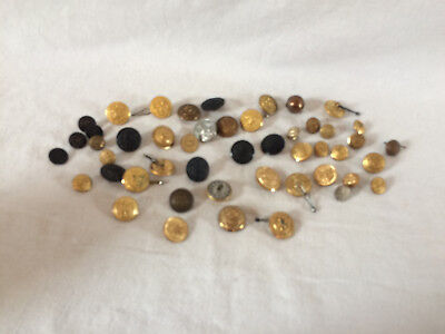 Vintage Military Buttons, Lot of 48, Assorted Sizes and Styles