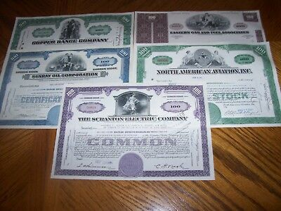 Lot of 5 Different Stock Certificates.All with excellent vignettes.L22