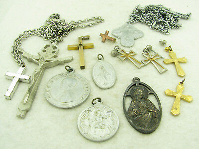 Lot of Vintage Religious Medals Crosses Rosary Parts St Christopher Virgin Mary