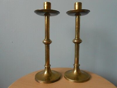 Pair Of Antique Arts & Crafts Seamed Brass Candlesticks With Drip Pans