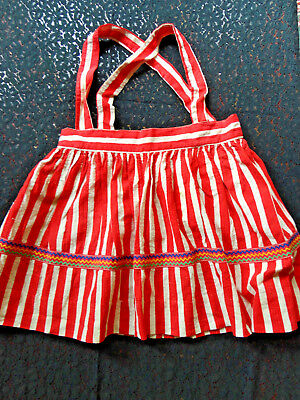Vintage 1950S Red/white Seersucker Skirt With Or Without Straps. Size 3 -6 Darl