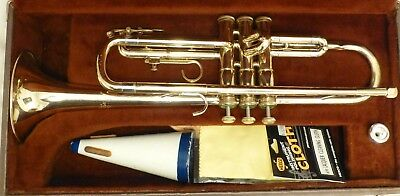 Vintage FE Olds and Sons Ambassador Fullerton CA  Trumpet, Case, Olds 7C MP Nice