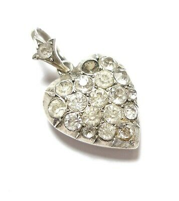 Beautiful Antique Victorian Or Edwardian Silver & Paste Stone Heart Pendant (B3)