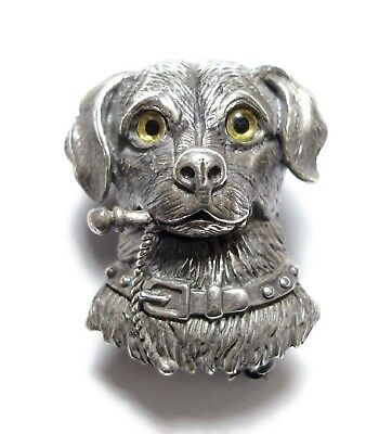 Beautiful Unusual Victorian Style Modern Silver Dog Brooch Novelty Pin (A2)