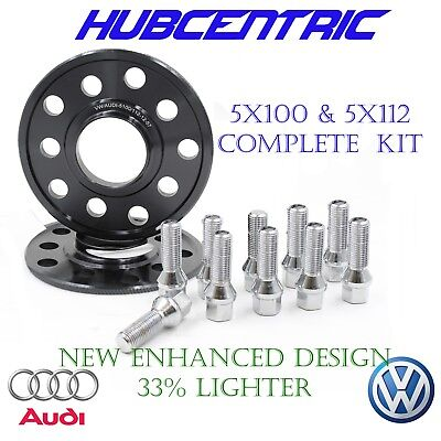 2 12mm Wheel Spacers + 10 lug bolts VW & Audi 5x112 | 5x100 57.1 HubCentric