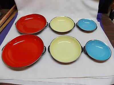 Lot of 6 B&M Douro cast iron enamel ware bowls pans Portugal red yellow blue