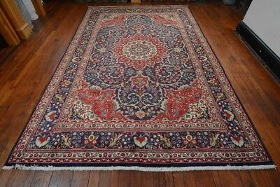 Vintage Persian Classic Floral Design Rug, 7'x11', Blue/Blue, All wool pile