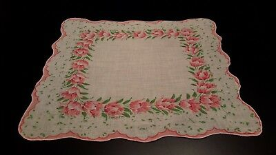 Pretty Vintage Ladies Wht Hanky Coral Pink Floral Scalloped Border Edged In Pink