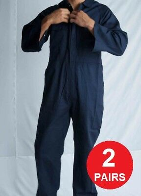 2x Mens Cotton Drill Coverall Long Sleeve Overall Work Wear Safety Boiler Suit