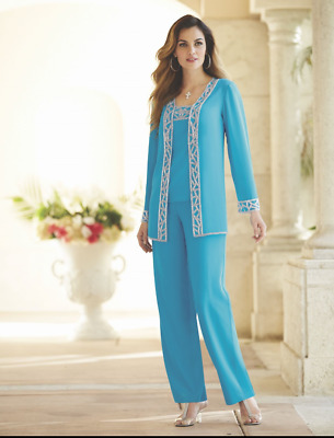 Turquoise Blue.  3 pc. Nitara Pant Set, Suit.  Sz. L.  Midnight Velvet.