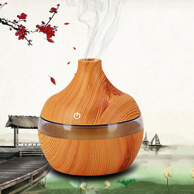300ML Electric Oil Essential Aroma Diffuser Humidifier Air Purifier LED Wooden
