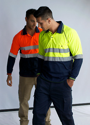 Hi Vis Polo Cotton/Poly Blend Long Sleeve Reflective Tape Day/Night Safety Work
