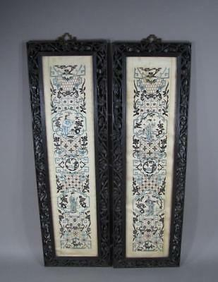 Nice Pair Of Antique Chinese Embroidered Panels In Well Carved Wood Frames