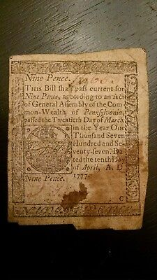 1777 PENNSYLVANIA 9 Pence Colonial Currency  History in your Hands