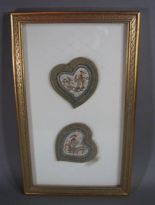 Nice Antique Chinese Finely Embroidered Ear Muffs, Framed