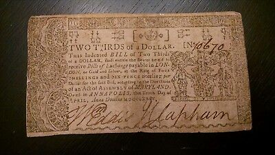 SCARCE 1774 MARYLAND 2/3 OF ONE DOLLAR Colonial Currency