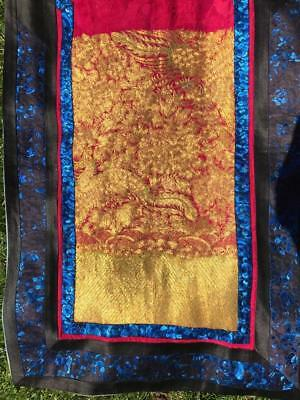 Nice Antique Chinese Red Embroidered Skirt, 2 Very Nice Gilt Panels With Phoenix