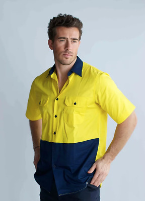 Hi Vis Cotton Drill Shirt Work Short Sleeve Vents Vented Cool Summer Breathable